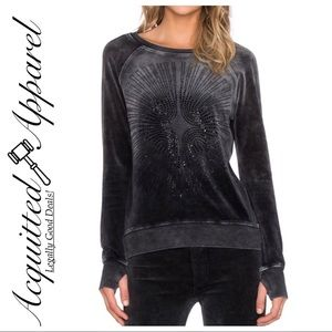 Pam & Gela | Mineral Wash Rhinestone Sweatshirt